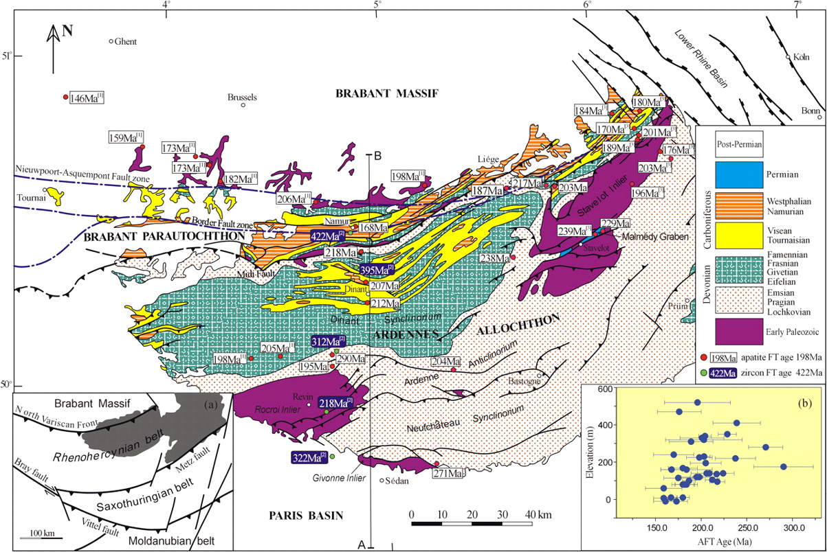 late and post variscan evolution of the ardennes in france and belgium constraints from apatite fission track data geological society london