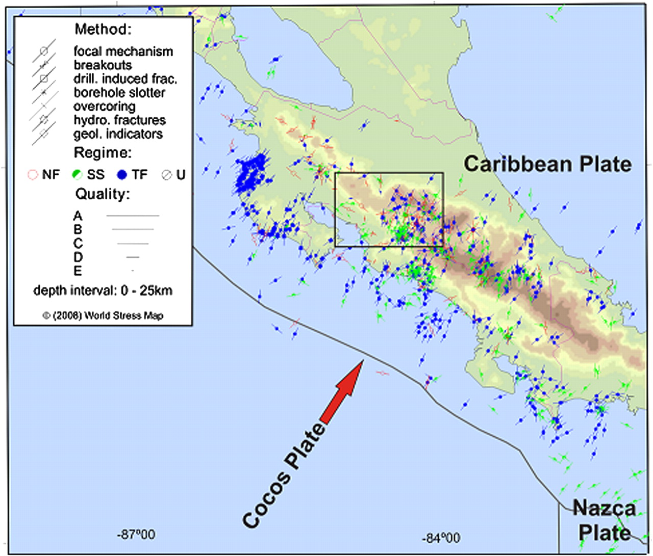 Andersonian And Coulomb Stresses In Central Costa Rica And