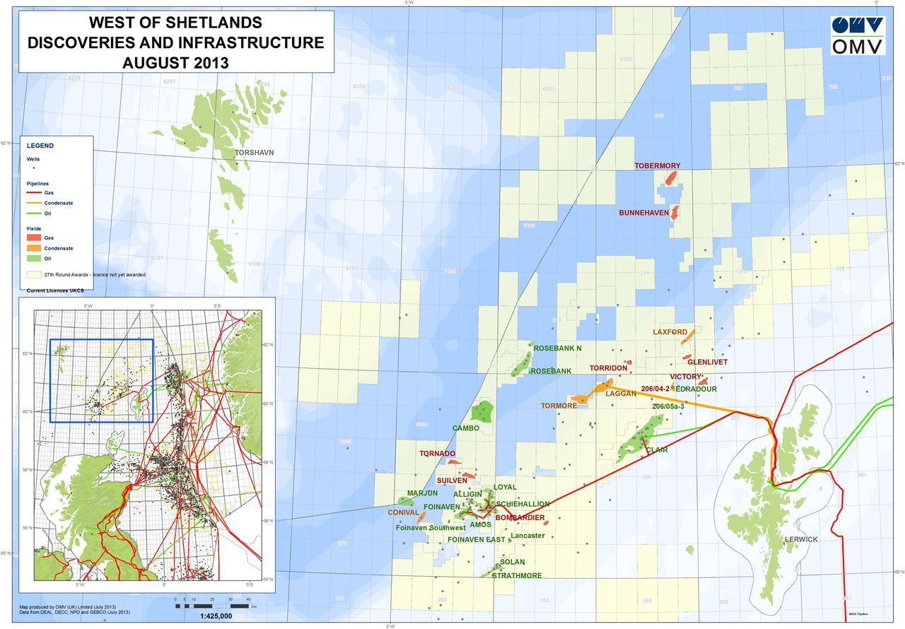 Map Of Uk Oil Fields.Hydrocarbon Exploration And Exploitation West Of Shetlands