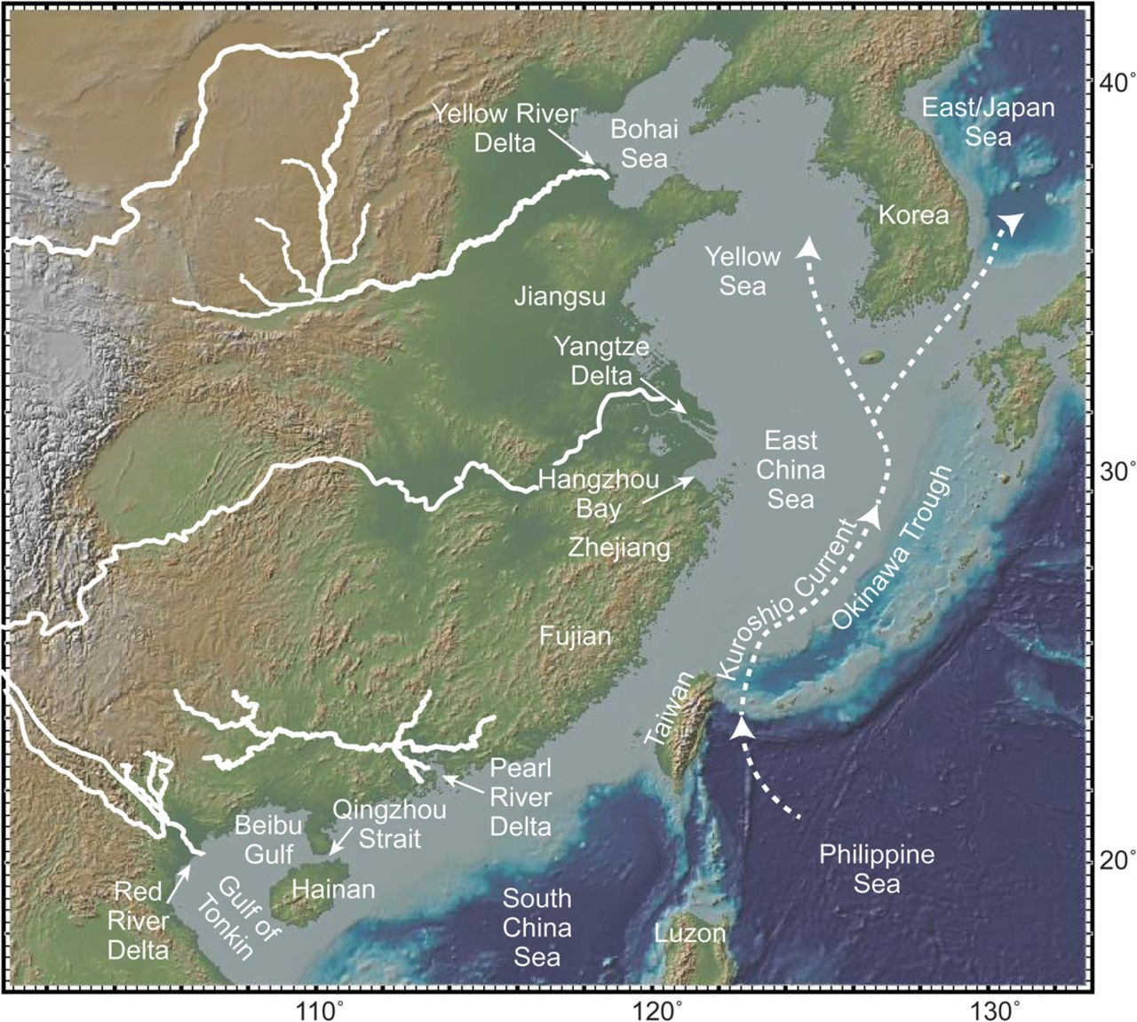 Map Of Asia Gulf Of Tonkin.Introduction To The River Dominated Shelf Sediments Of The East