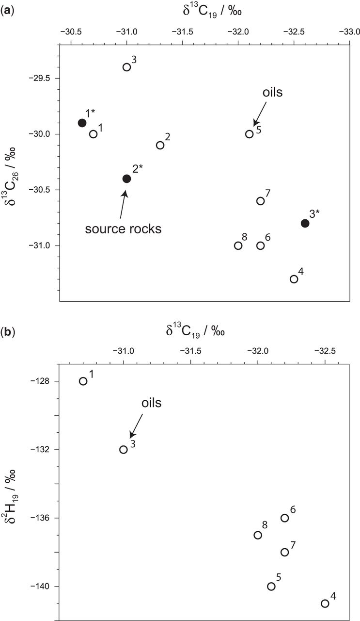 Carbon and hydrogen isotopic compositions of n-alkanes as a tool in